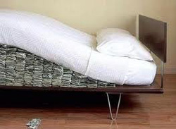 Money hidden in mattress
